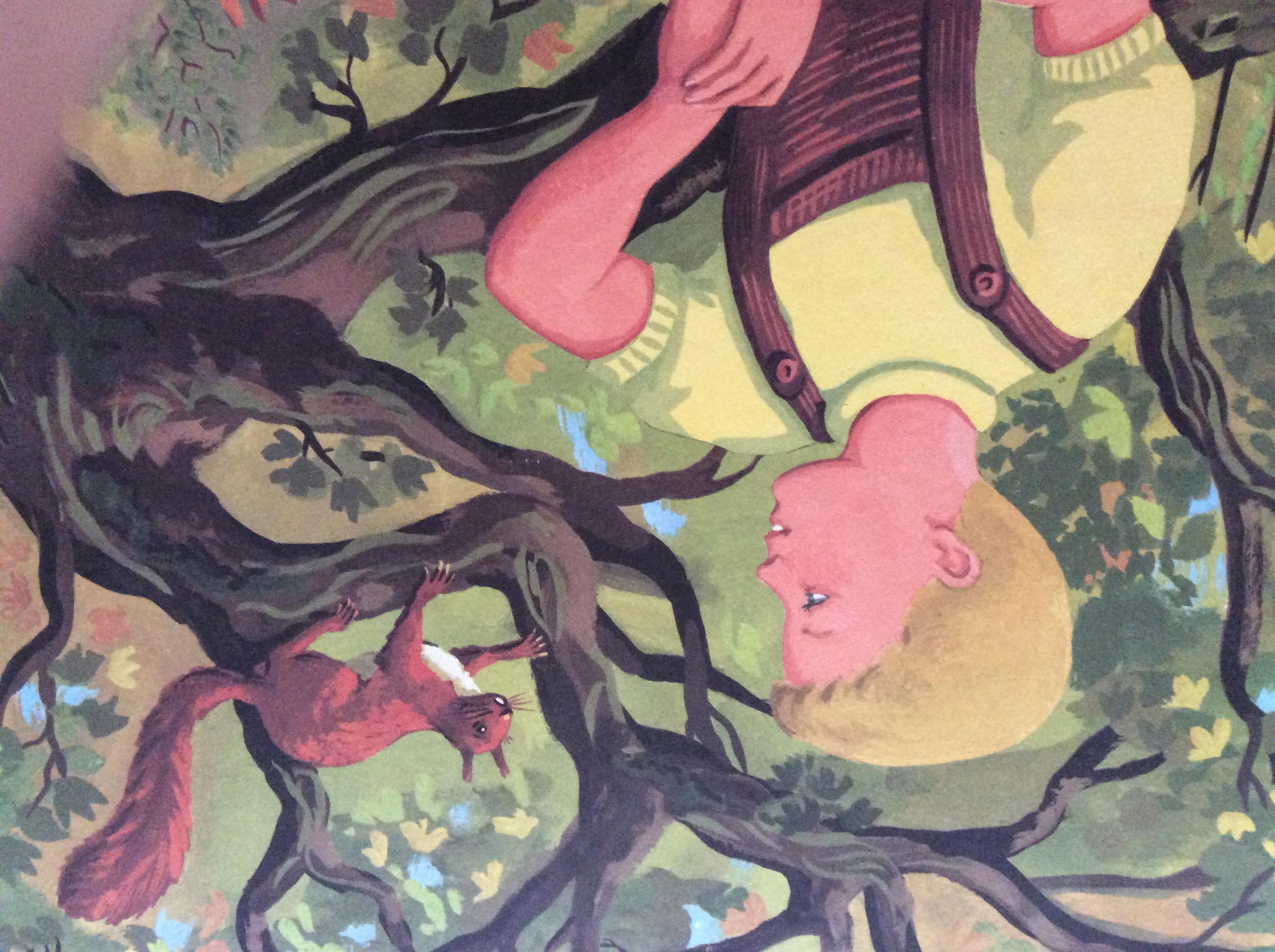 panneau pédagogique scolaire ancien méthode de lecture Poucet et son ami l'écureuil