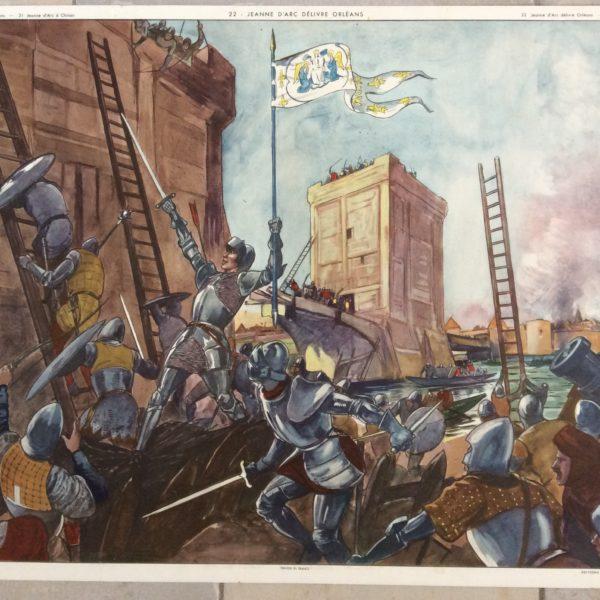 AFFICHE SCOLAIRE ÉCOLE HISTOIRE JEANNE D'ARC DÉLIVRE ORLÉANS