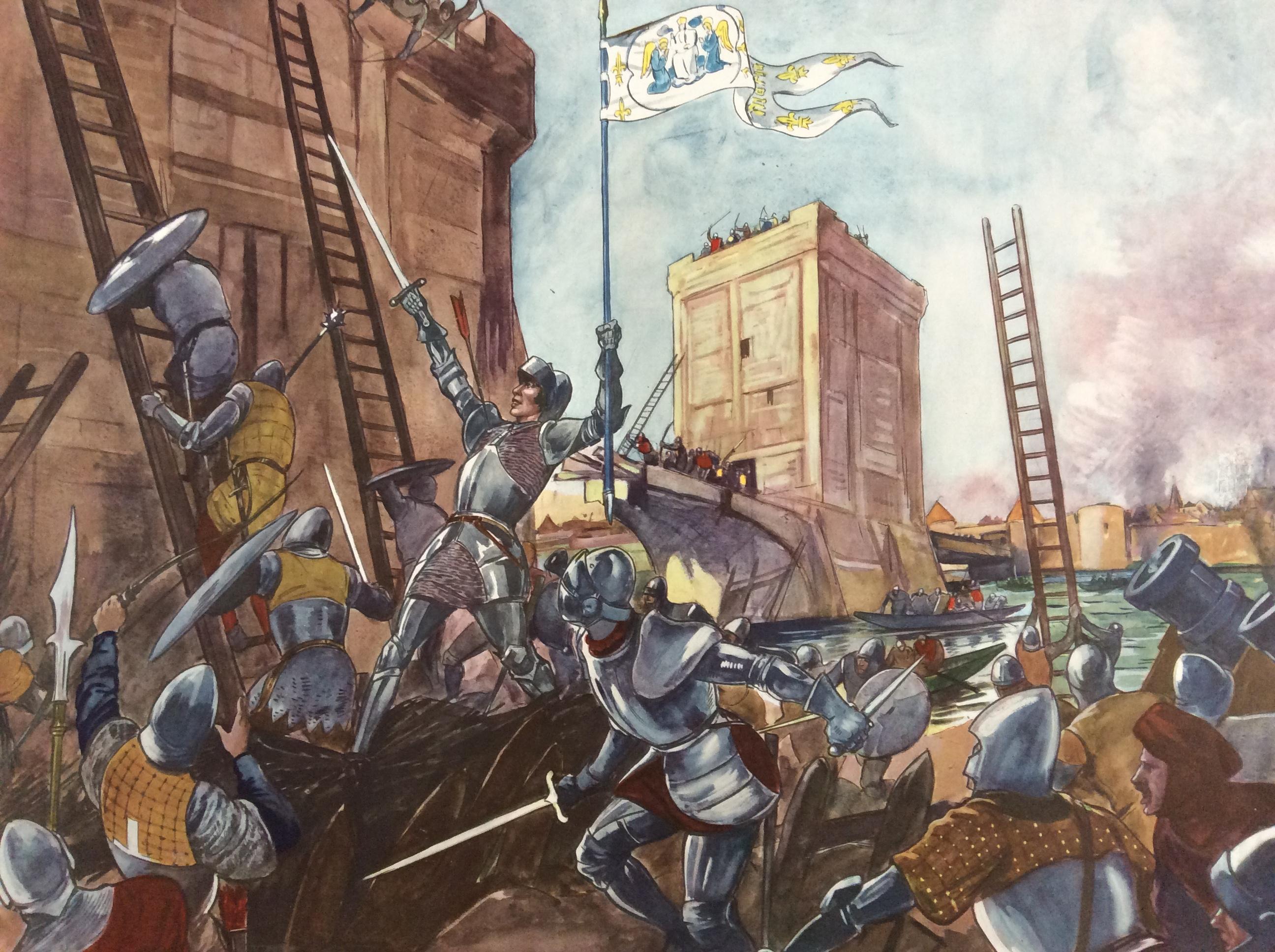 tableau pédagogique scolaire ancien histoire de France Jeanne d'arc délivre Orléans