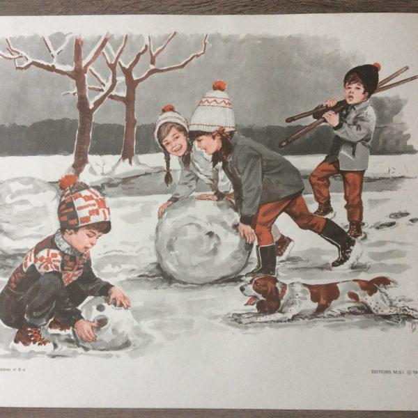 tableau pédagogique scolaire ancien la neige