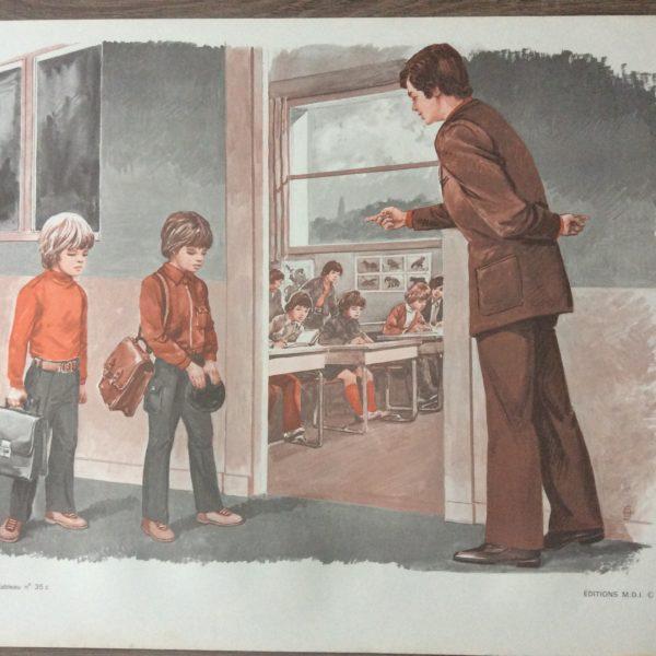 panneau pédagogique scolaire ancien éditions mdi