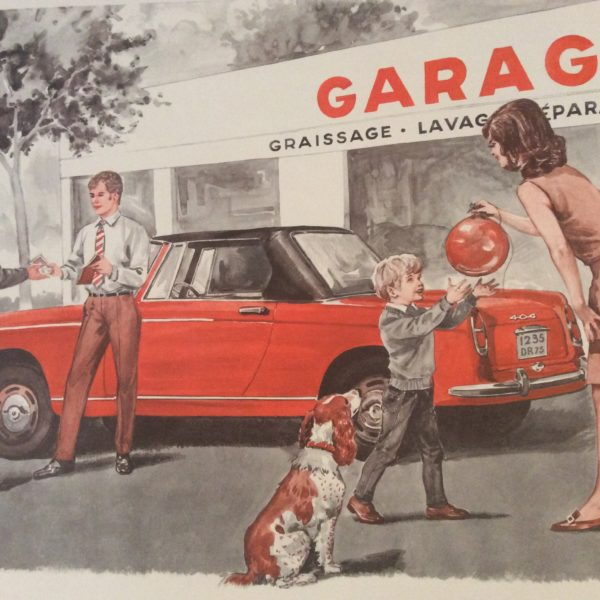 Tableau pédagogique scolaire ancien le garage