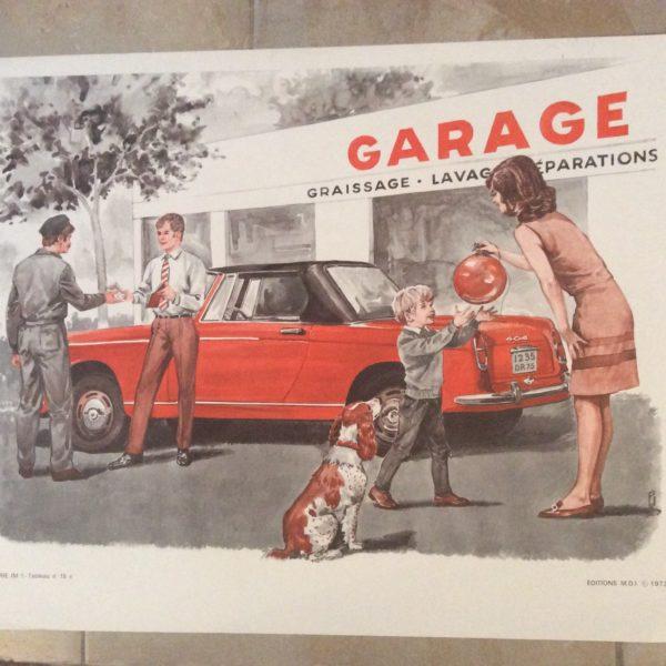 panneau pédagogique scolaire ancien le garage