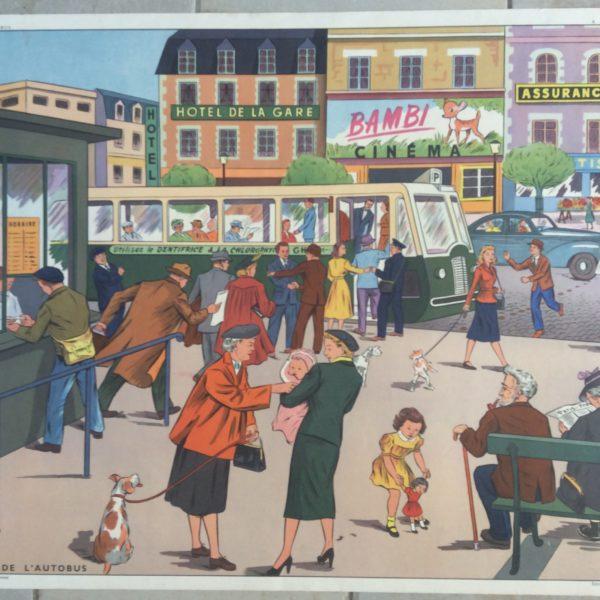 Affiche Scolaire École Vintage Arrêt Autobus