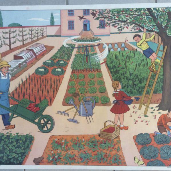 Affiche Scolaire École Vintage Déco Le Jardin Au Printemps