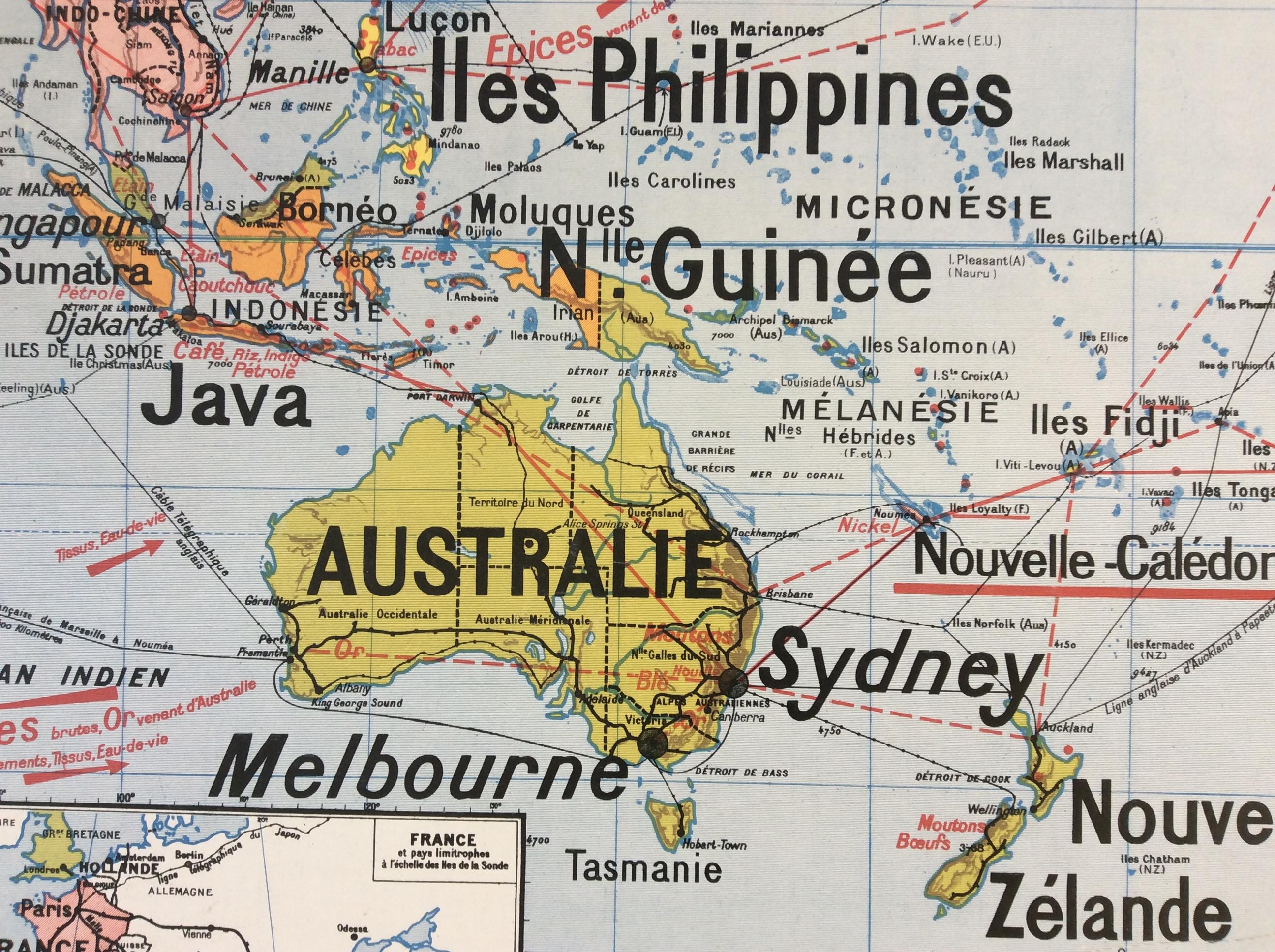 Carte Murale Scolaire Vidal Lablache Déco Vintage Océanie Australie