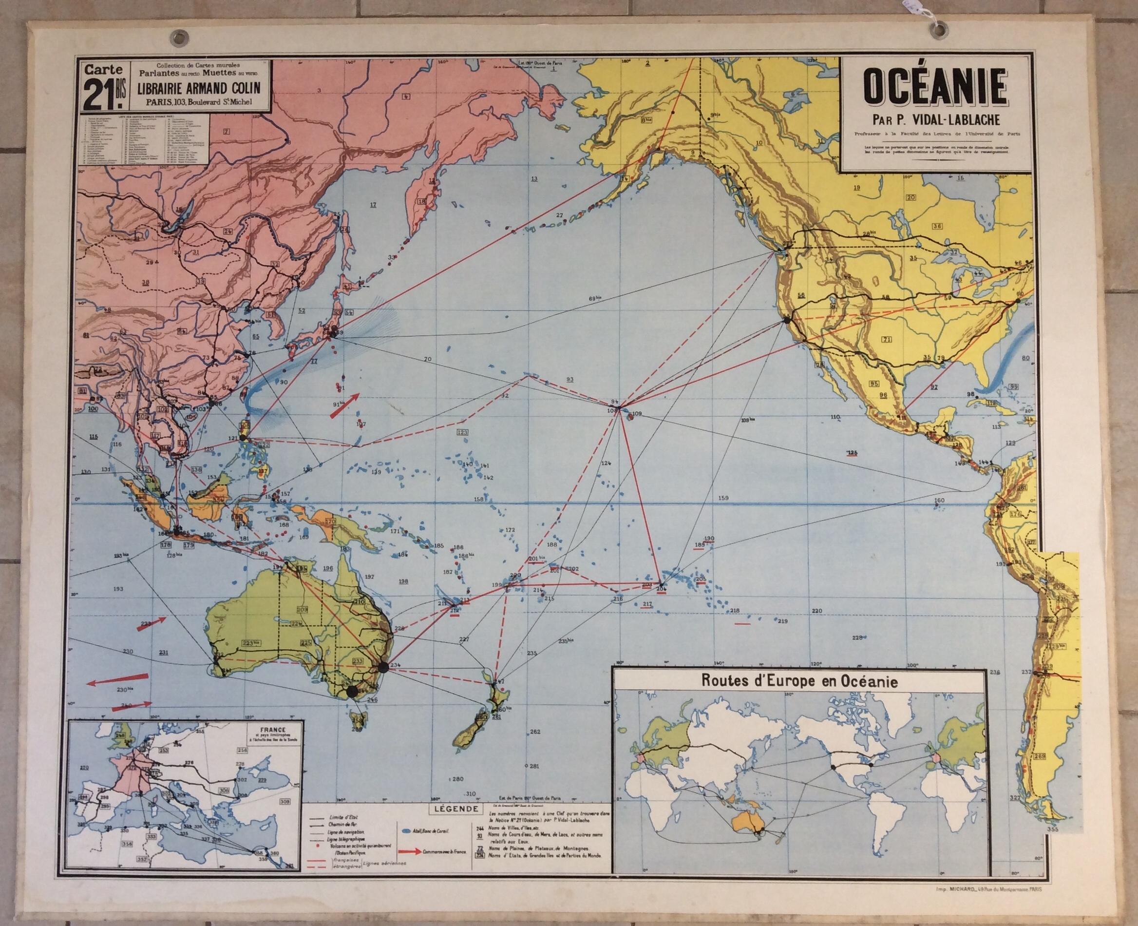 Carte Australie Deco.Carte Murale Scolaire Vidal Lablache Deco Vintage Oceanie