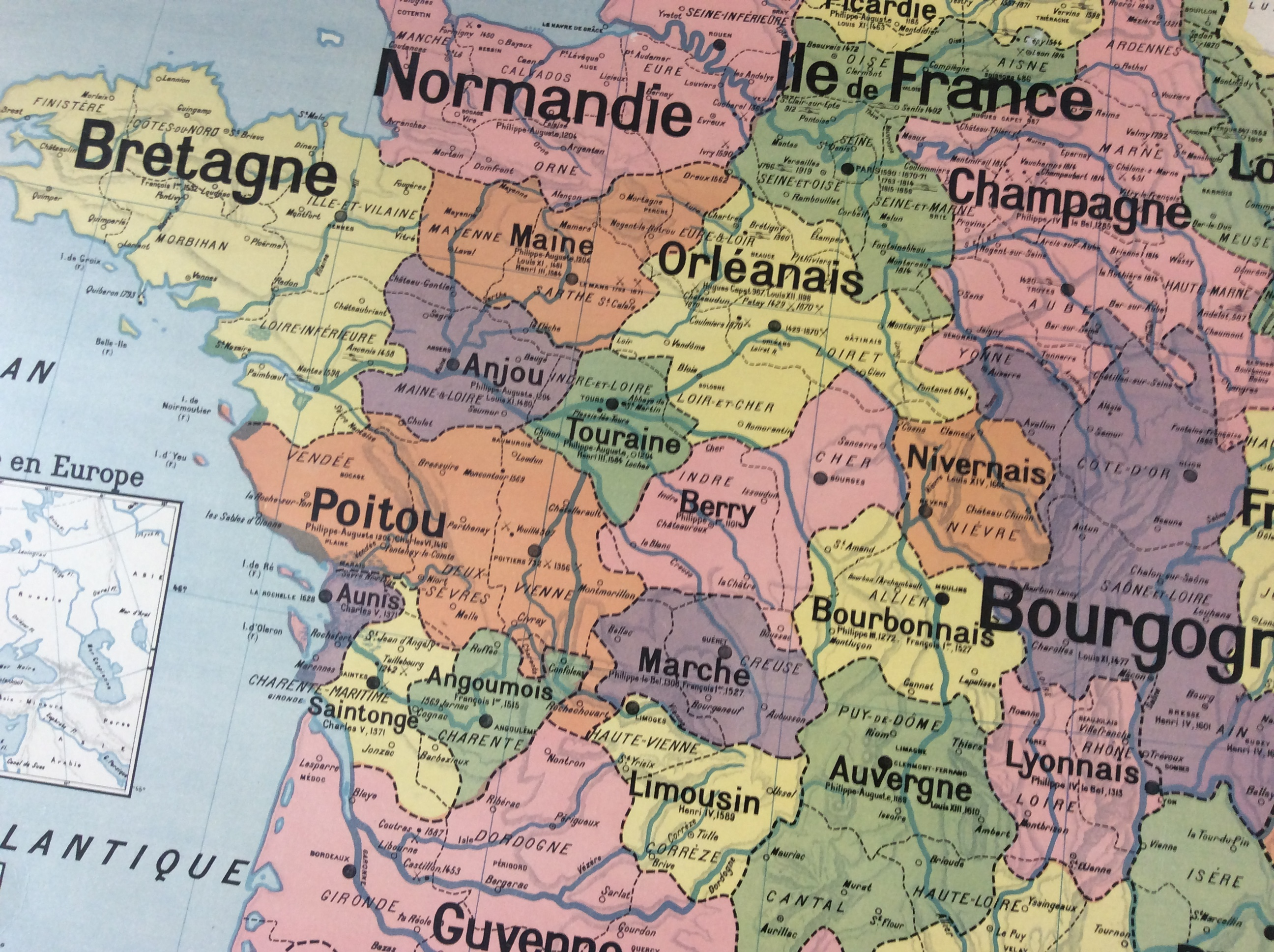 Carte Scolaire Vidal Lablache France Provinces Déco Vintage