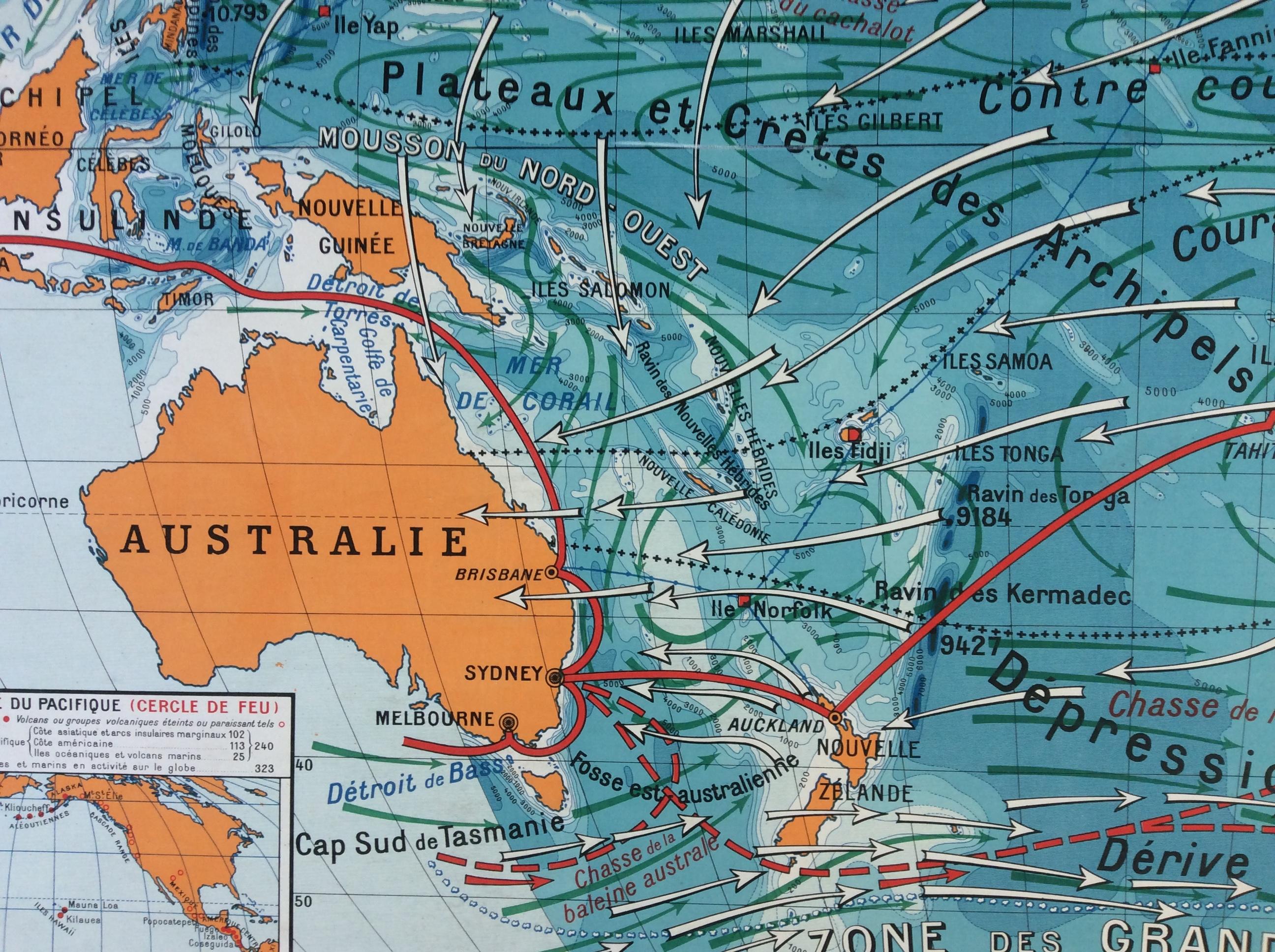 Carte Australie Pacifique.Carte Murale Scolaire Vidal Lablache Ocean Pacifique