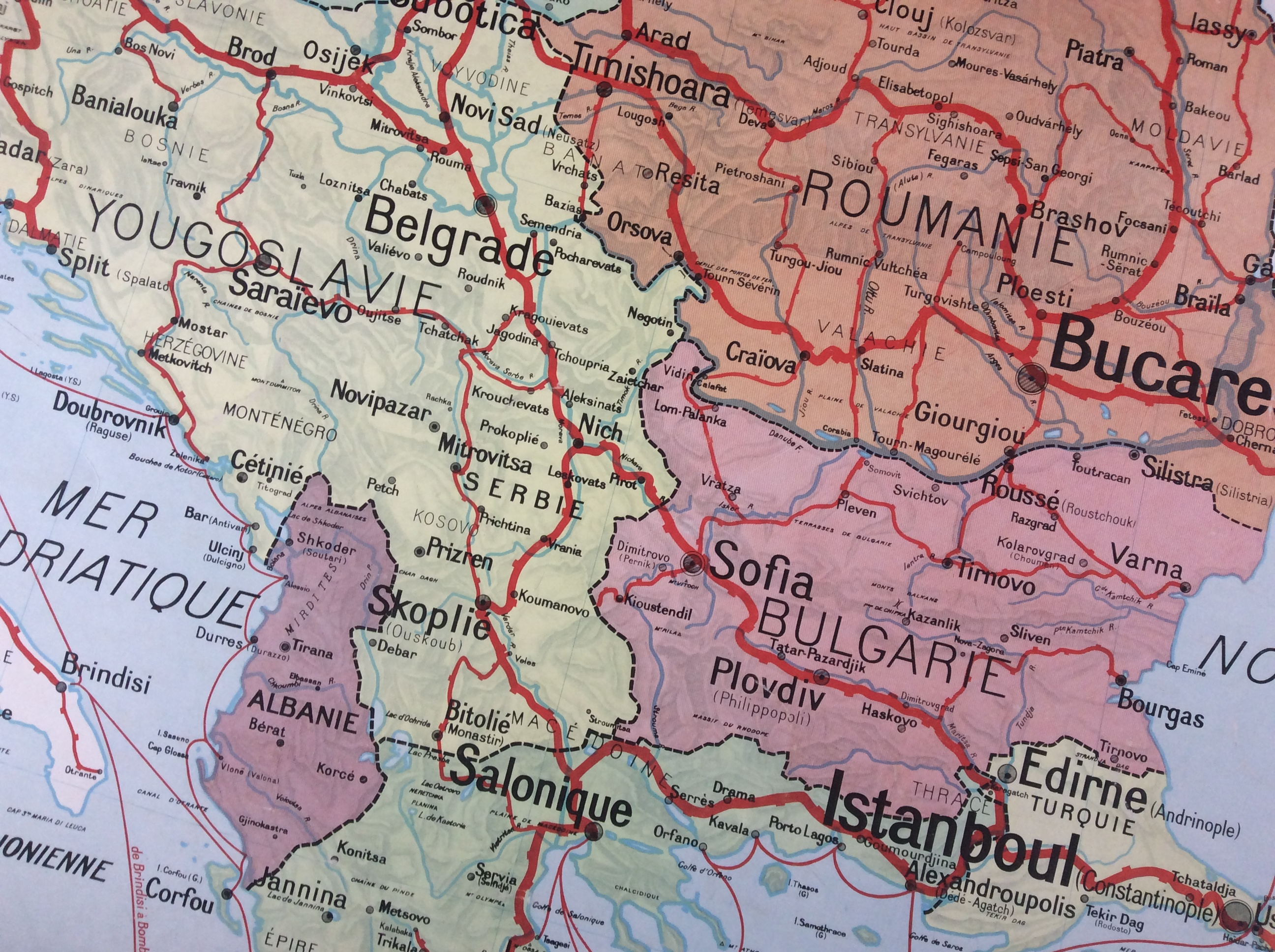Carte Roumanie Bulgarie.Carte Scolaire Murale Vidal Lablache Roumanie Yougoslavie