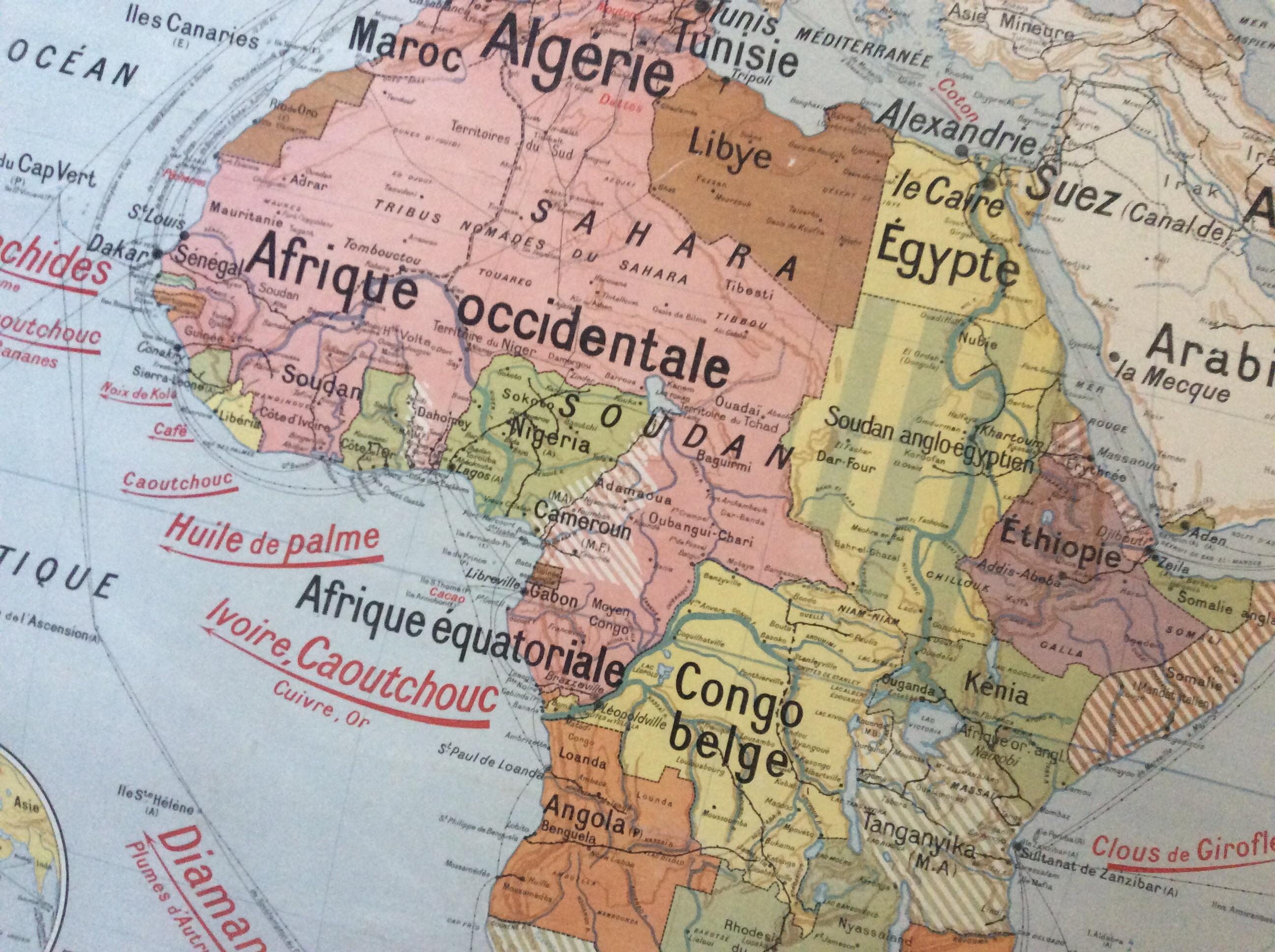 CARTE SCOLAIRE ANCIENNE MURALE AFRIQUE POLITIQUE DÉCO VINTAGE