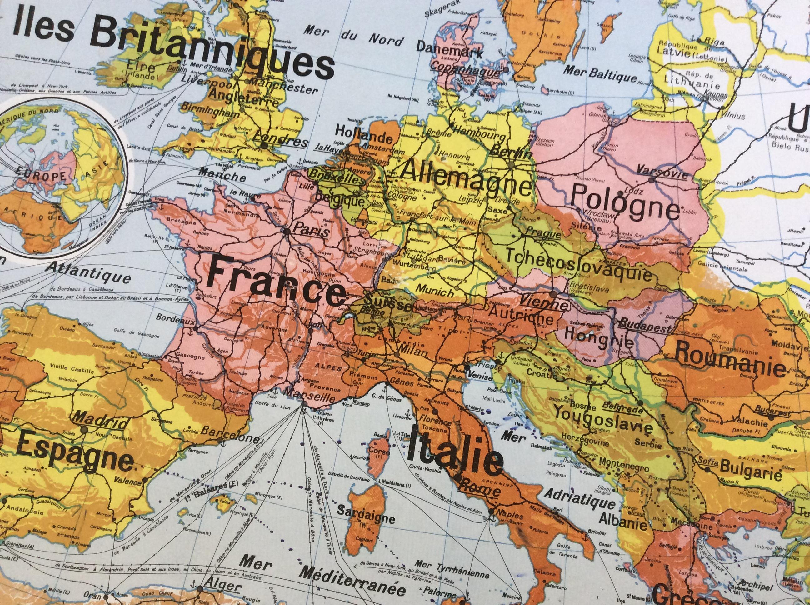 CARTE SCOLAIRE MURALE VIDAL LABLACHE EUROPE POLITIQUE DÉCO VINTAGE