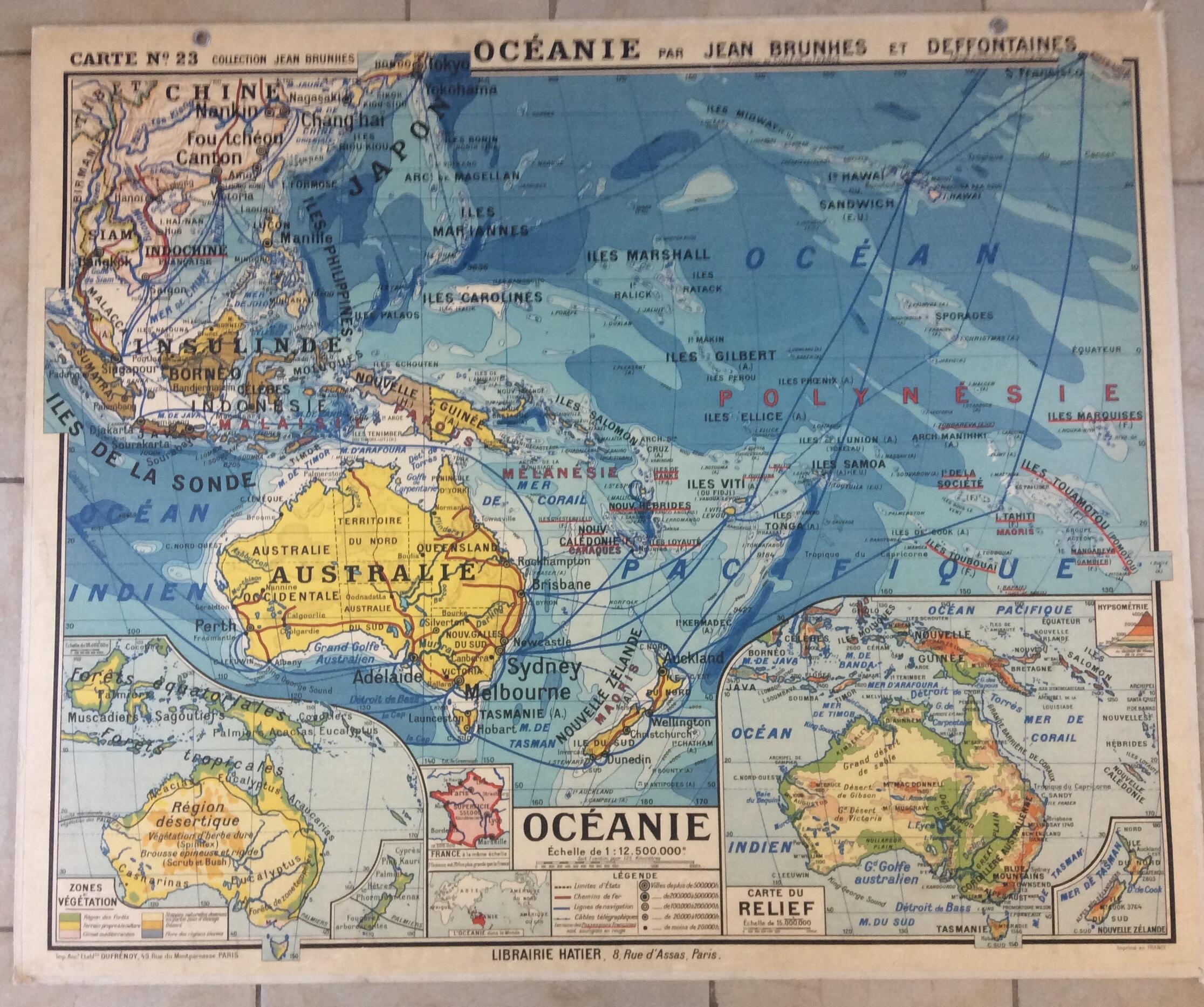 Carte Australie Deco.Affiche Carte Scolaire Murale Style Vidal Lablache Oceanie