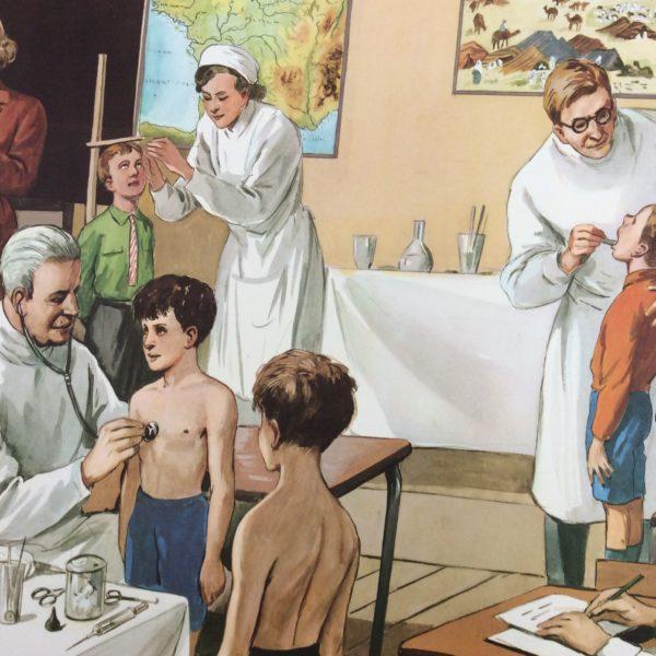 AFFICHE SCOLAIRE ÉCOLE LA VISITE MÉDICALE DECO VINTAGE